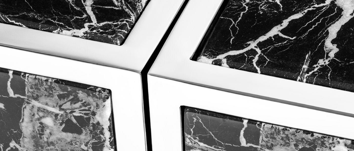 Metallic finishes and faux marble detail
